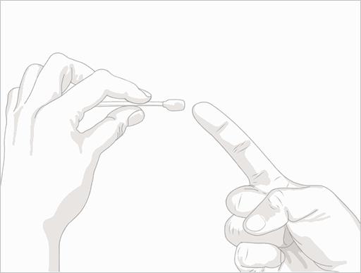 Step.1用温水洗手后擦干,并用酒精棉球消毒吸取部分