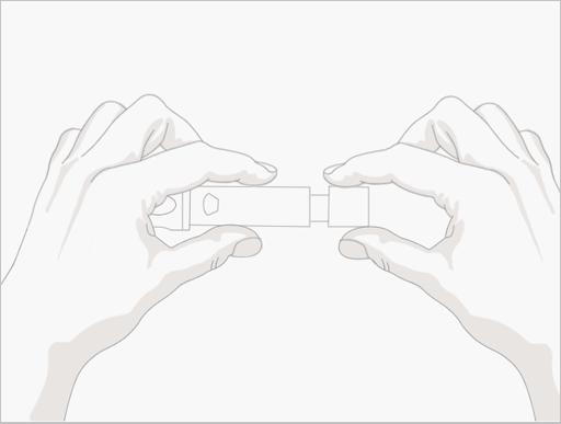 Step.3根据手指皮肤调整字环,数字越大,扎的越深,然后将笔筒拉开