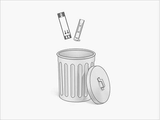 Step.9将采血针帽插回采血针上,与试纸一同扔进垃圾桶内
